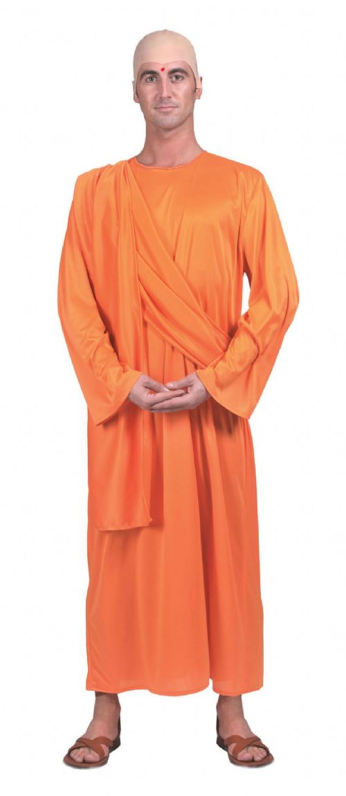 Mens Hare Krishna Costume Buddhist Buddah Asian Fancy Dress Outfit
